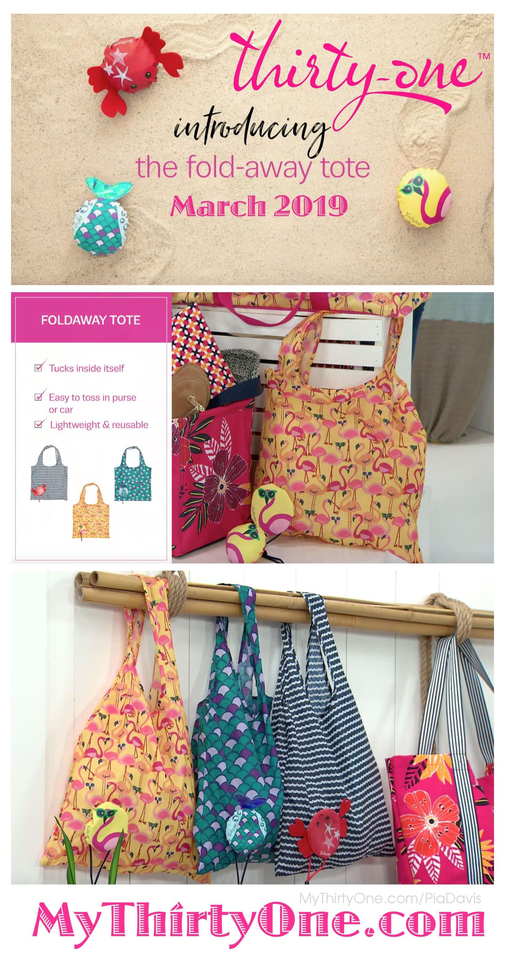 31 Thirty One Gifts New Fold Away Tote Coming Spring 2019