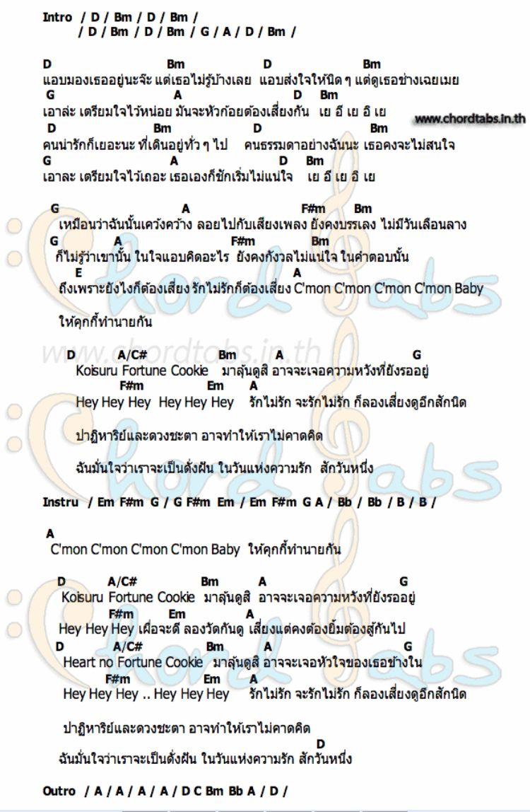 ค กก เส ยงทาย Bnk48 คอร ดก ต าร อ ค เลเล เพลง
