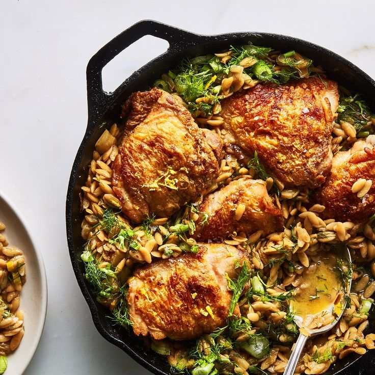 One Skillet Chicken With Buttery Orzo Recipe Chicken Recipes