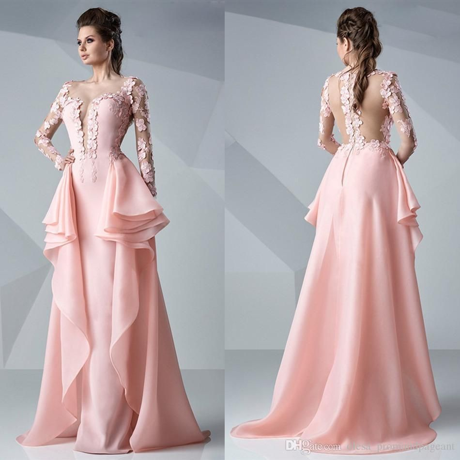 Pink Long Sleeve Mermaid Prom Dresses Formal Evening Dress With ...