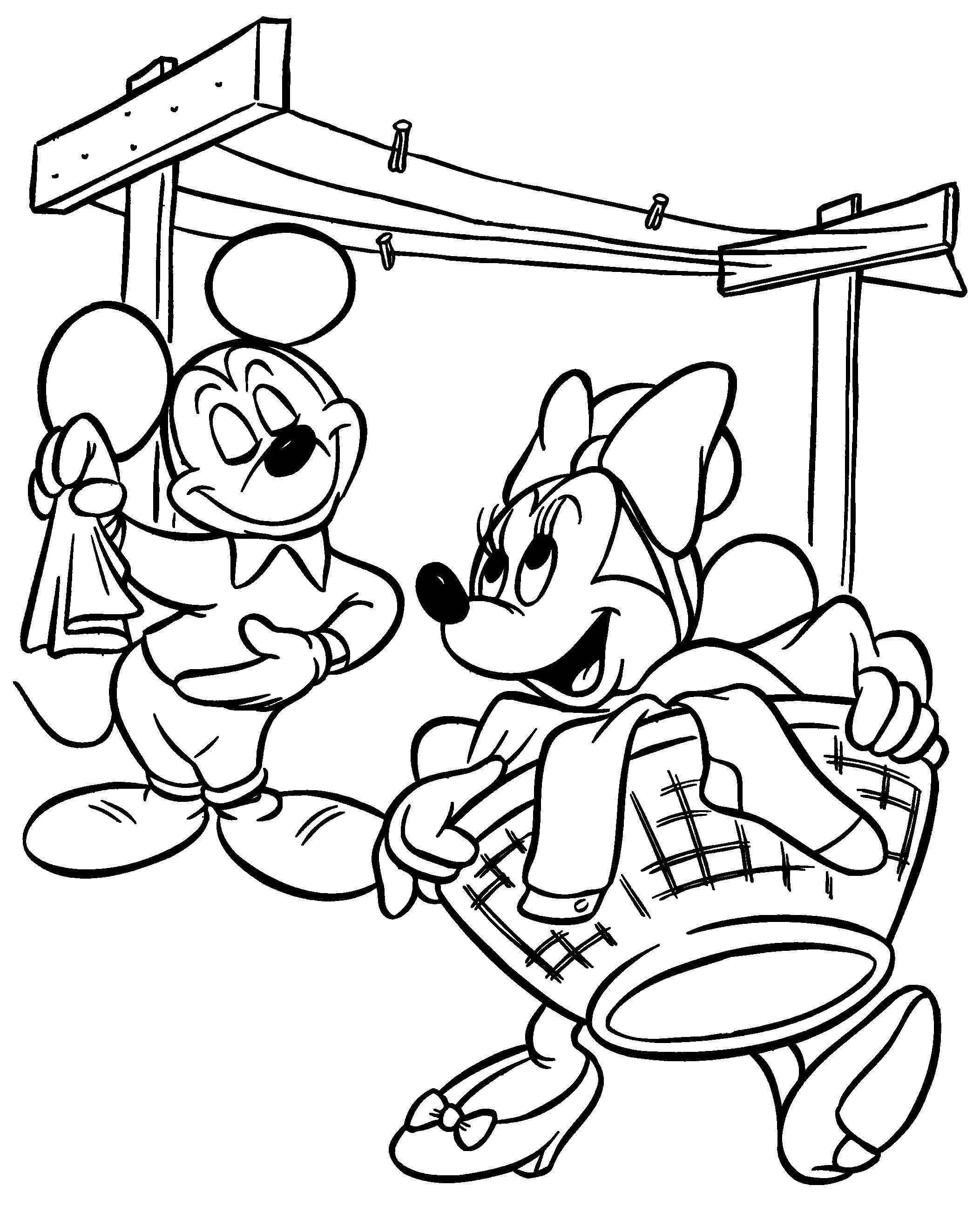 Kleurplaten Van Minnie En Mickey Mouse