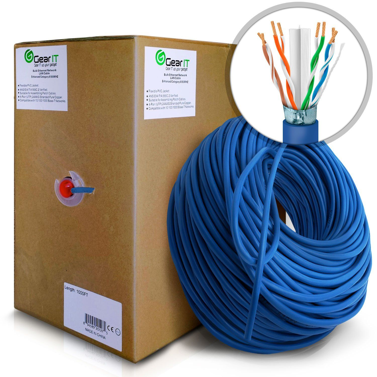Gearit 1000 Feet Bulk Cat6 Stp Ethernet Cable Stranded Twisted Pair Wiring Cat 6 Shielded 550mhz 24awg Full Copper Wire Pull Box In Wall Rated Cm Blue