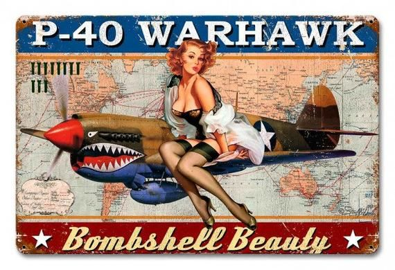 P-40 Warhawk Pinup Girl, Powder Coated Metal Sign, 3 Sizes Available, Vintage Style Retro Gas Oil Garage Art Wall Decor sm