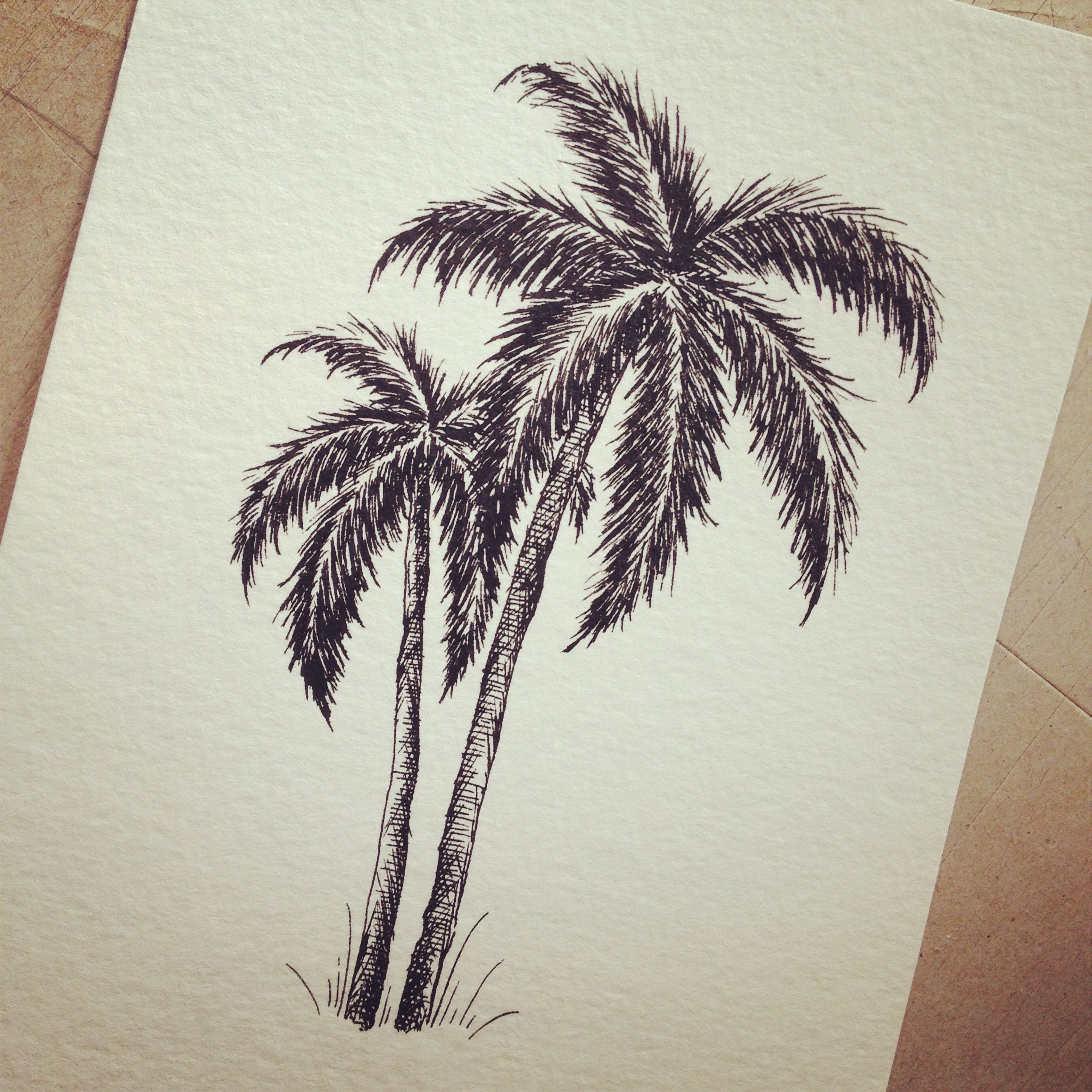 #Pen and #Ink Palm Tree drawing for #Wedding #Invitation ...