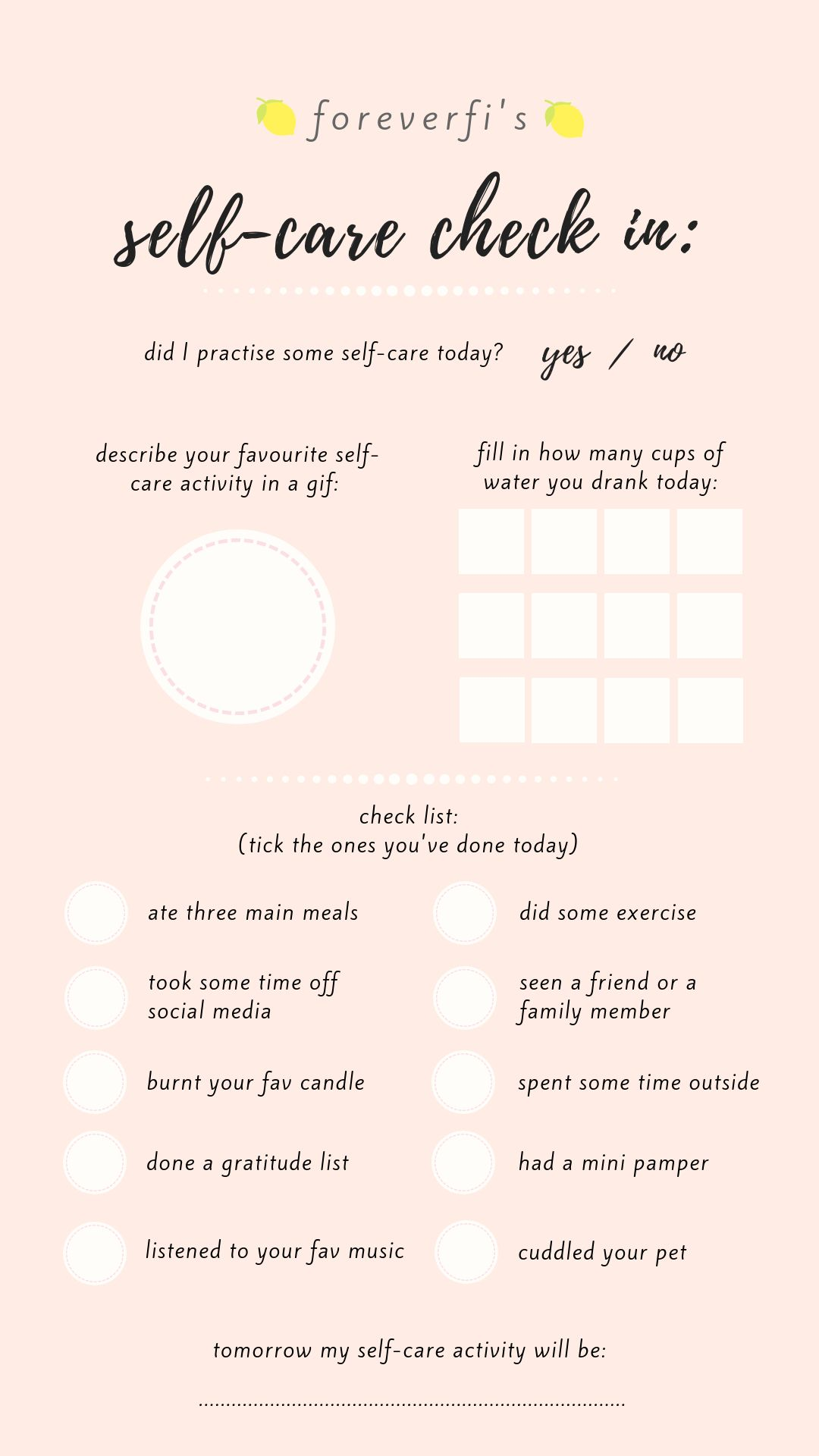 Self Care Check In Instagram Story Template Storytemp