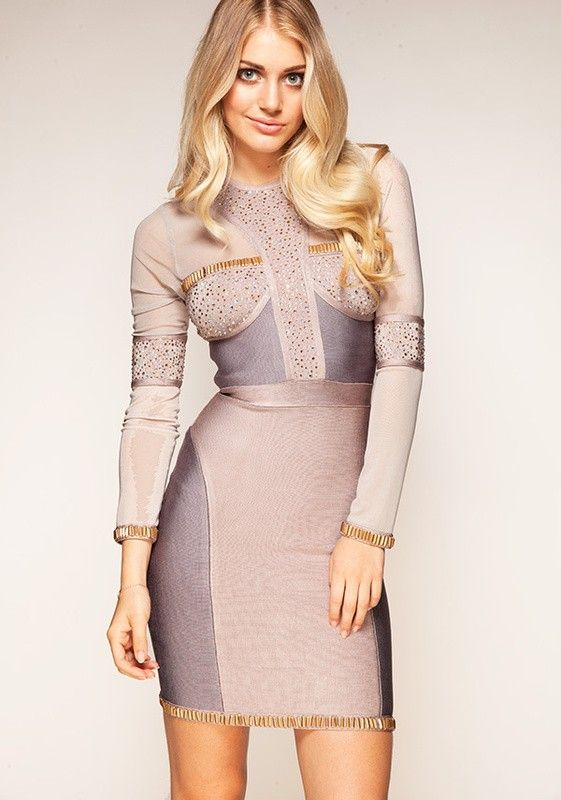 Herve Leger Samia Crystal Embellished Long Sleeve Bandage Dress ...