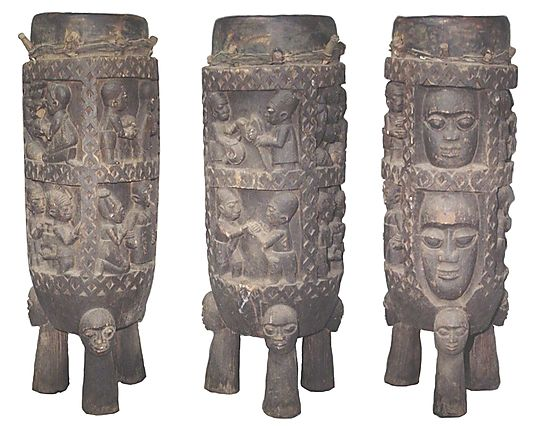 Agba Ogboni - The largest drum features emblems of  Shango and Olokun - From Nigeria, mid-20th century. Many Ogboni objects have been lost are are becoming increasingly rare