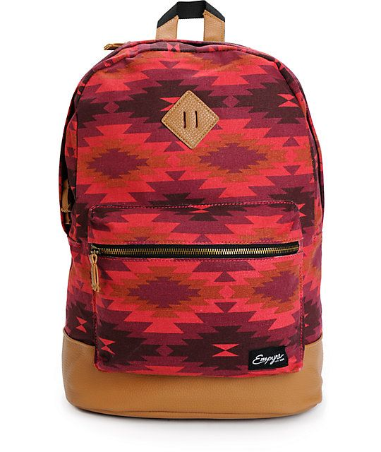 d7932b9f0d Keep it simple with a classic pack in a red tribal print with a padded  laptop sleeve in the large main zip compartment.