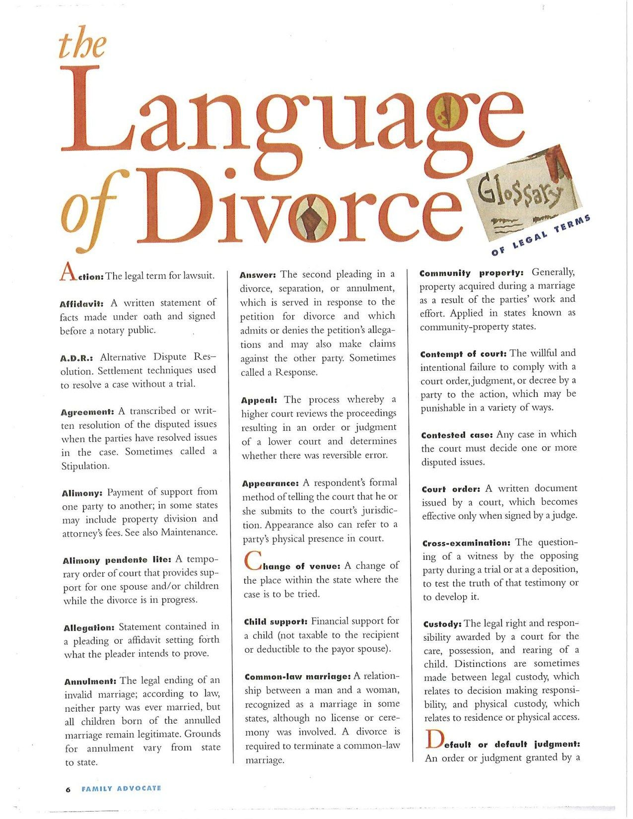 Legal Divorce Terms You Need To Know A Handy Guide