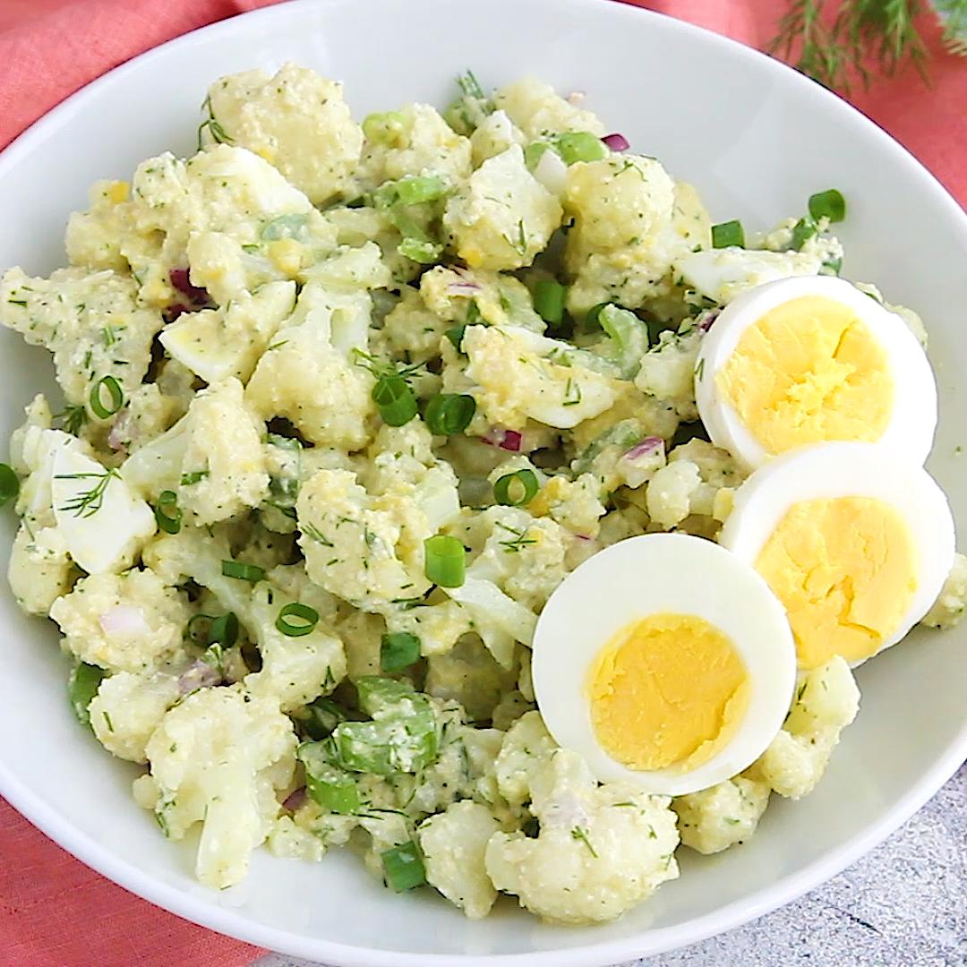 Low-Carb Cauliflower Potato Salad #potatosalad