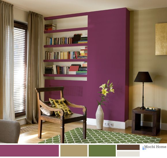 Mulberry Purple Living Room With Green Rug.