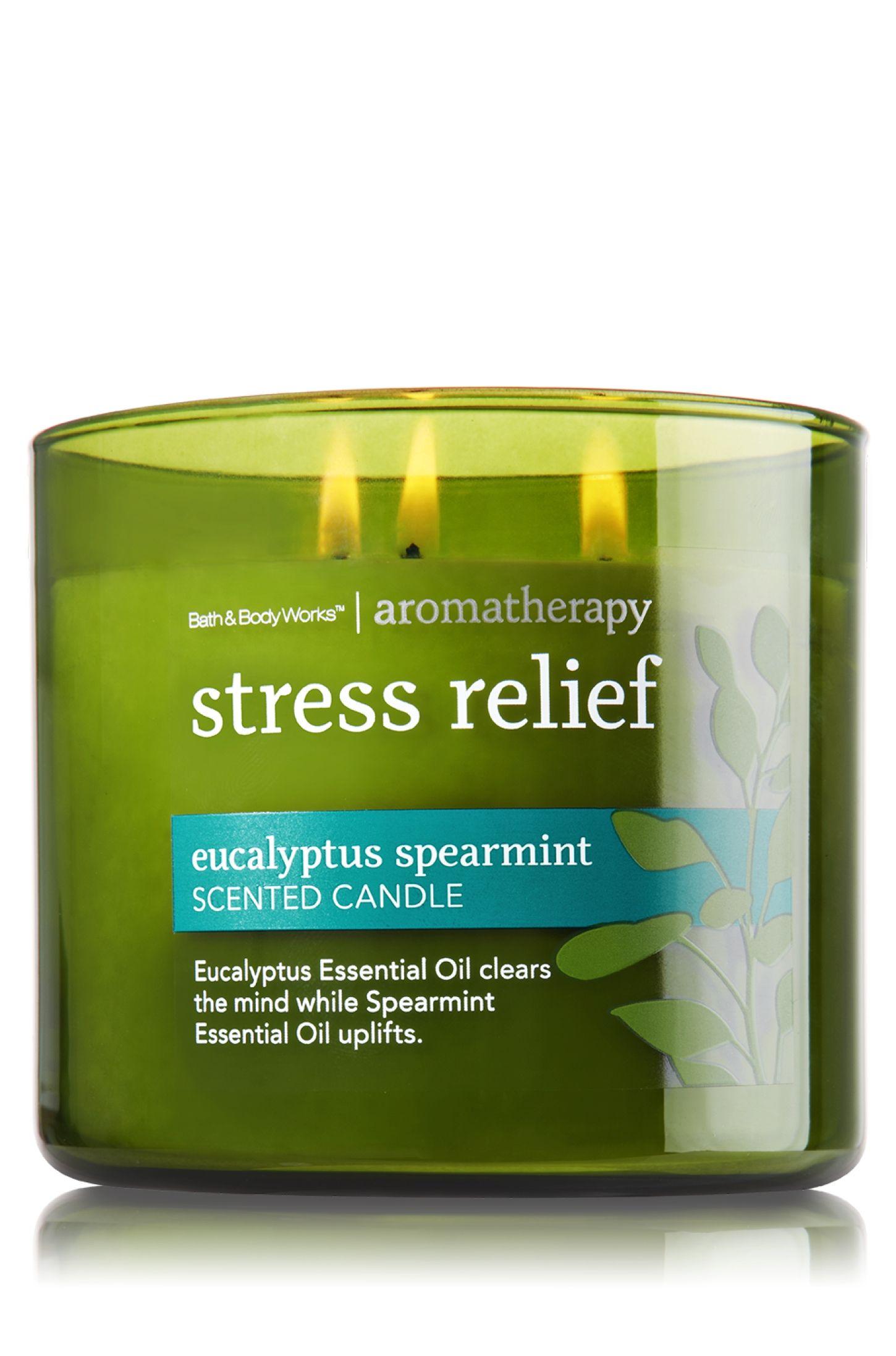 Eucalyptus Spearmint 3 Wick Candle Home Fragrance Bath Body Works Aromatherapy Stress Relief Aromatherapy Candles Bath Candles