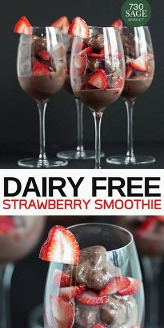 This #DairyFree Strawberry Parfait Protein Smoothie is pretty easy to make and yummy!  Its amazing t...