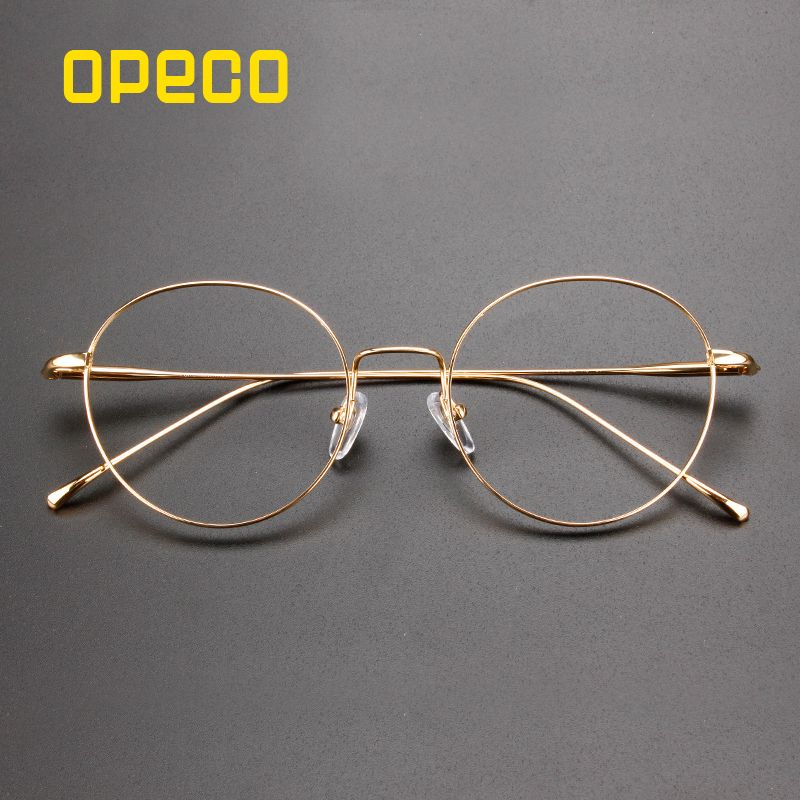 56e9fe61d4 Opeco women s Pure Titanium reto round Eyeglasses Frame RX able Glasses  female FullRim Light Weight Myopia Optical Eyewear  1640 Review
