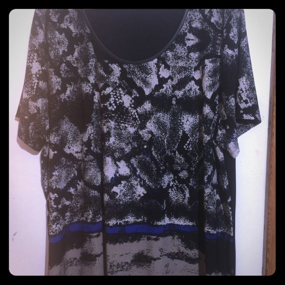 Black and blue shirt with animal print Super cute to wear with with blue pants. Dex Tops Blouses