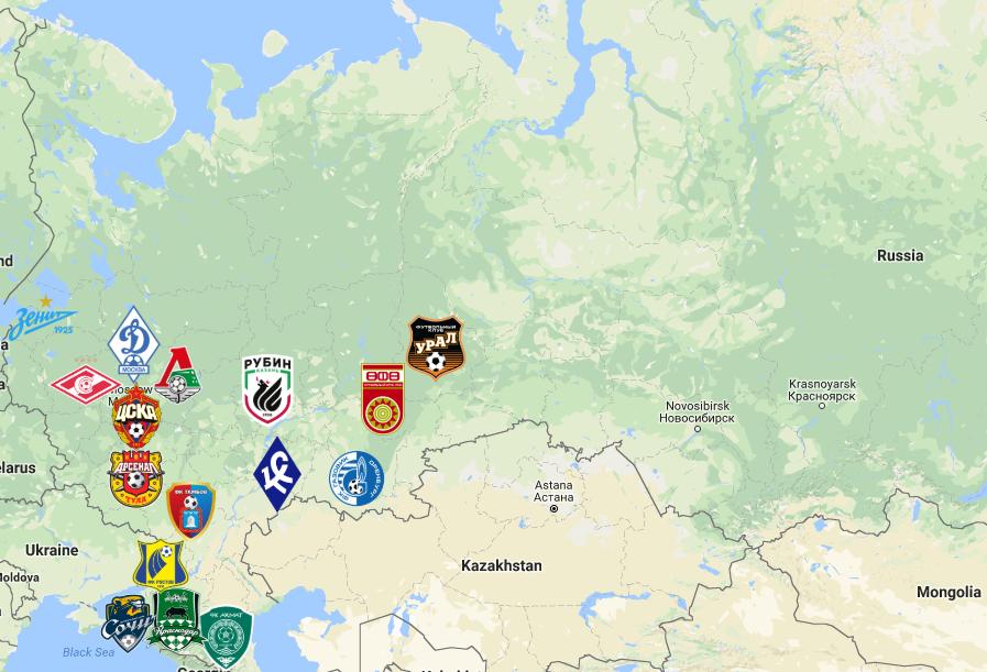 2019 Russian Premier League Map Premier League Premier League Soccer Map