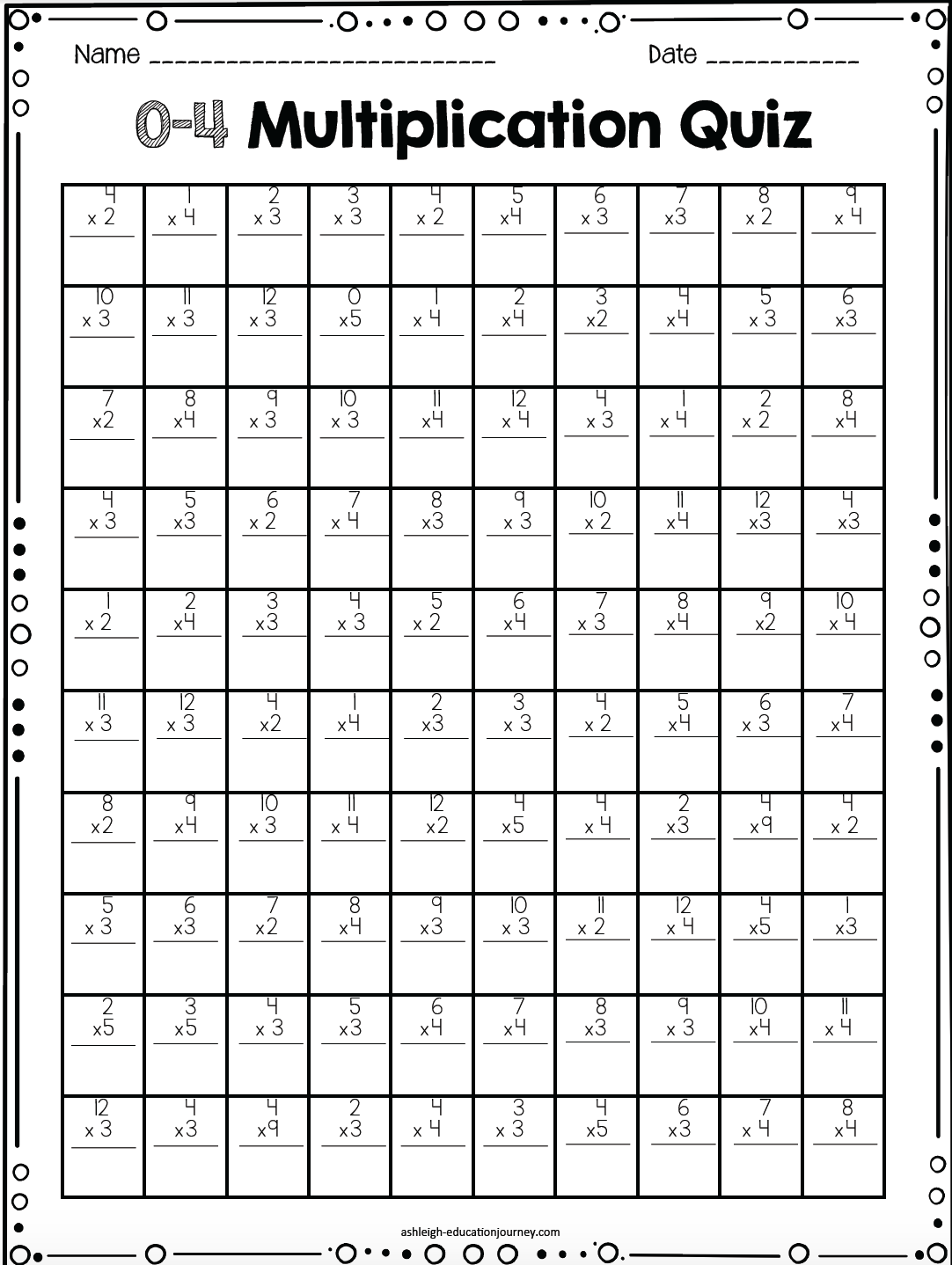 Printable Multiplication Timed Tests