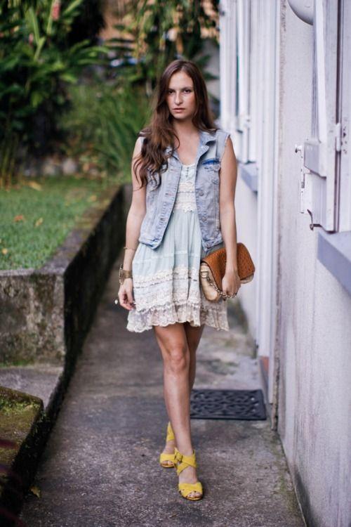 Slip dress with denim vest.