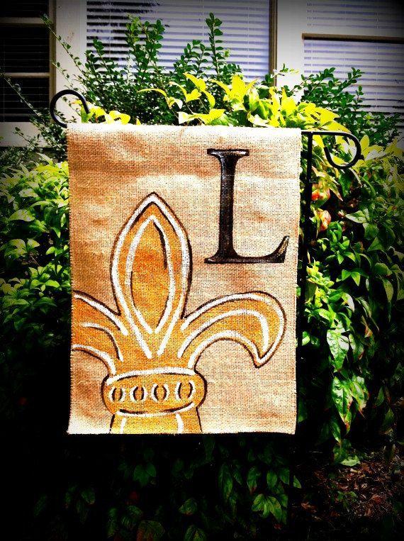 Burlap Fleur De Lis Garden Flag Initial