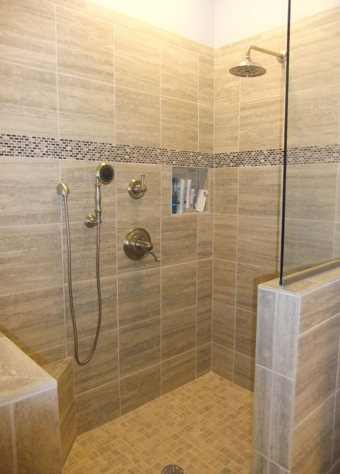 Painting of Compact and Accessible Bathroom Ideas with Walk in Showers with No Door : tile door - Pezcame.Com