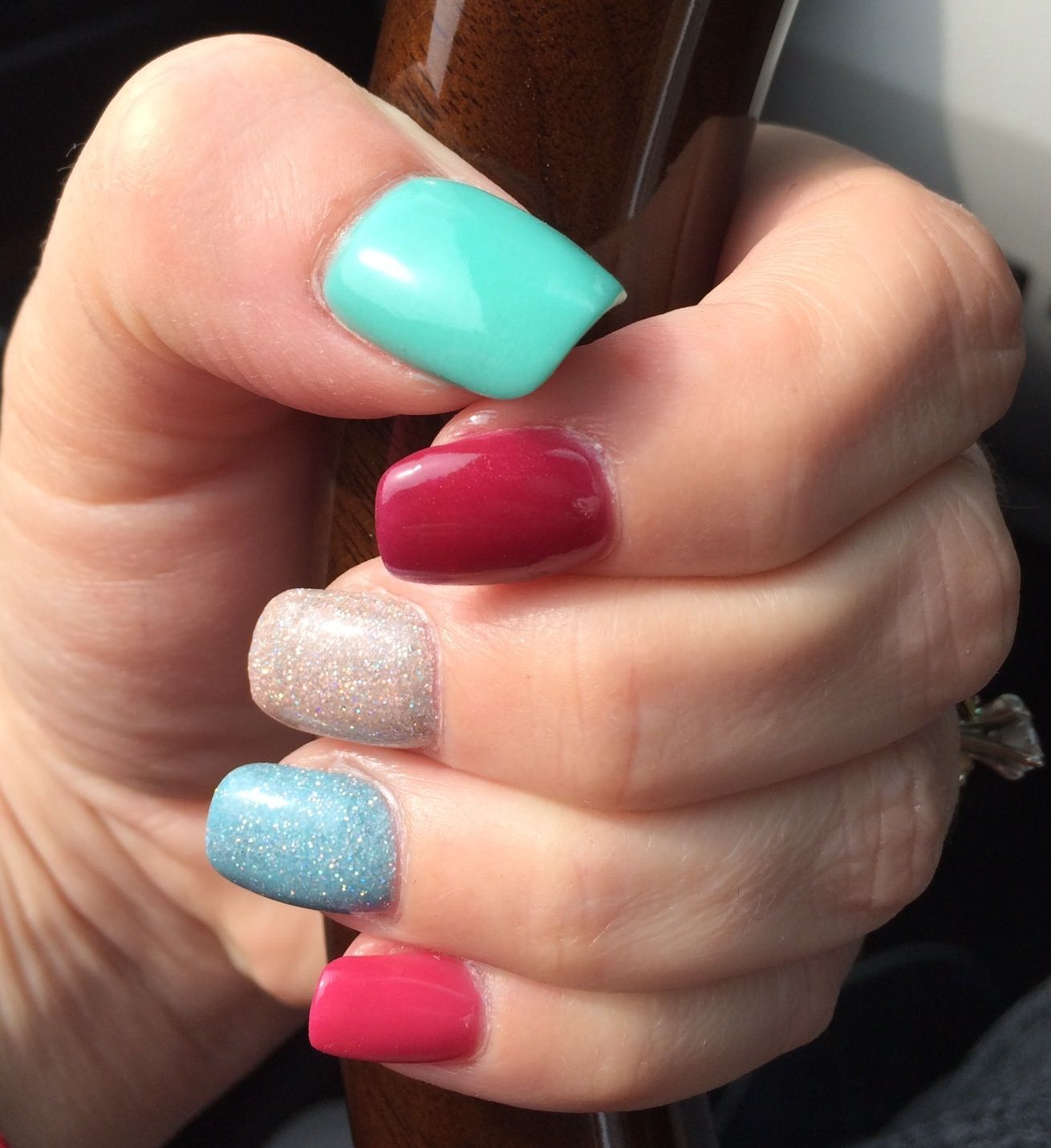 Hot Pink, Blue Glitter, Sand
