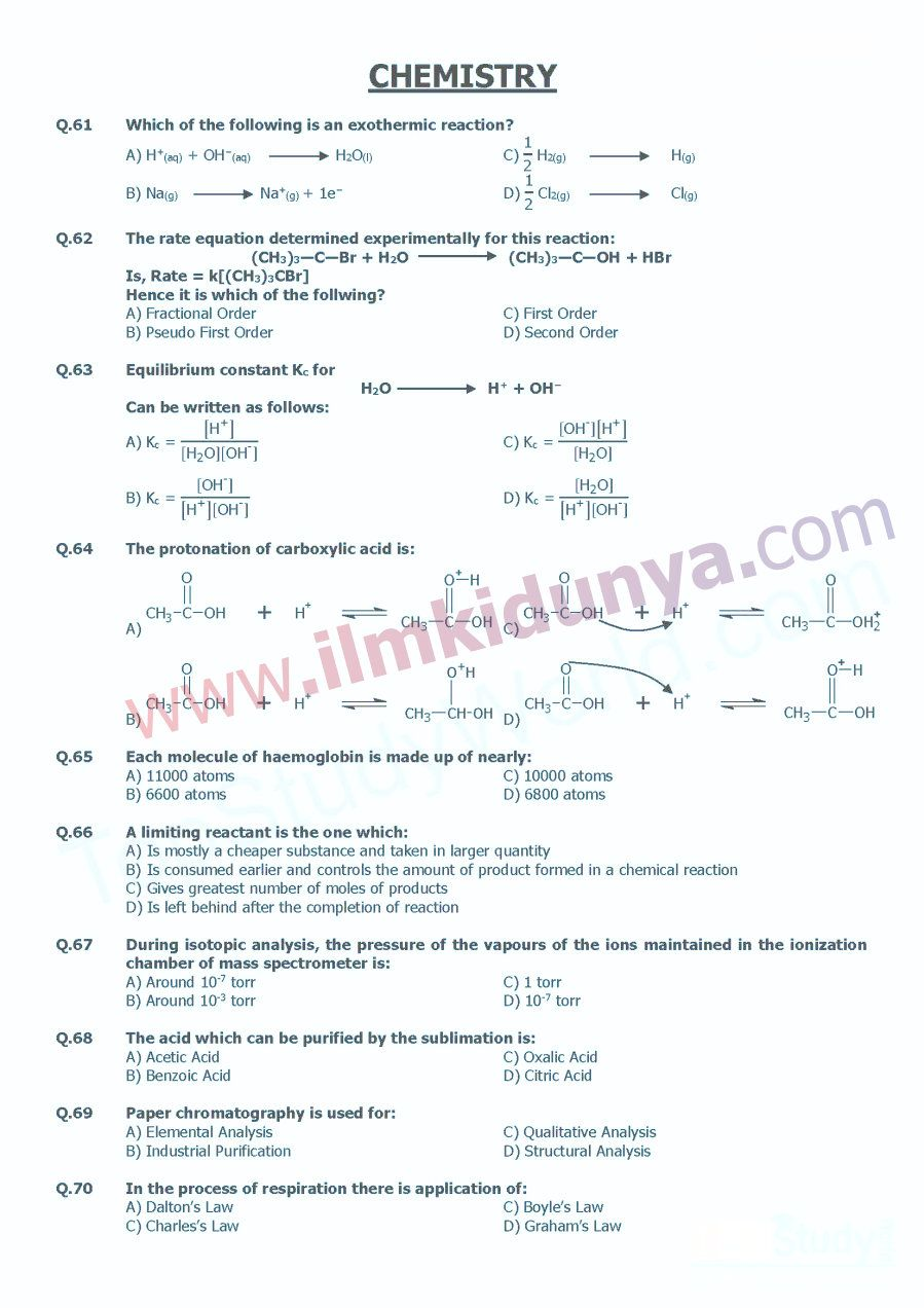 UHS MCAT Past Paper Chemistry 2009 | MCQs | Past papers