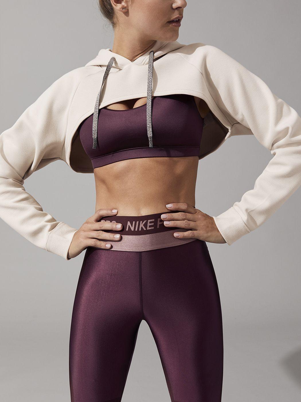 W Nk Dry Shrug Sweatshirts In Desert Sand Black By Nike From Carbon38 Sports Wear Fashion Sportswear Fashion Cute Workout Outfits [ 1400 x 1050 Pixel ]