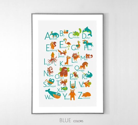 Afrikaans Alphabet Poster With Animals From A To Z Big Poster Etsy Alphabet Poster Afrikaans Alphabet