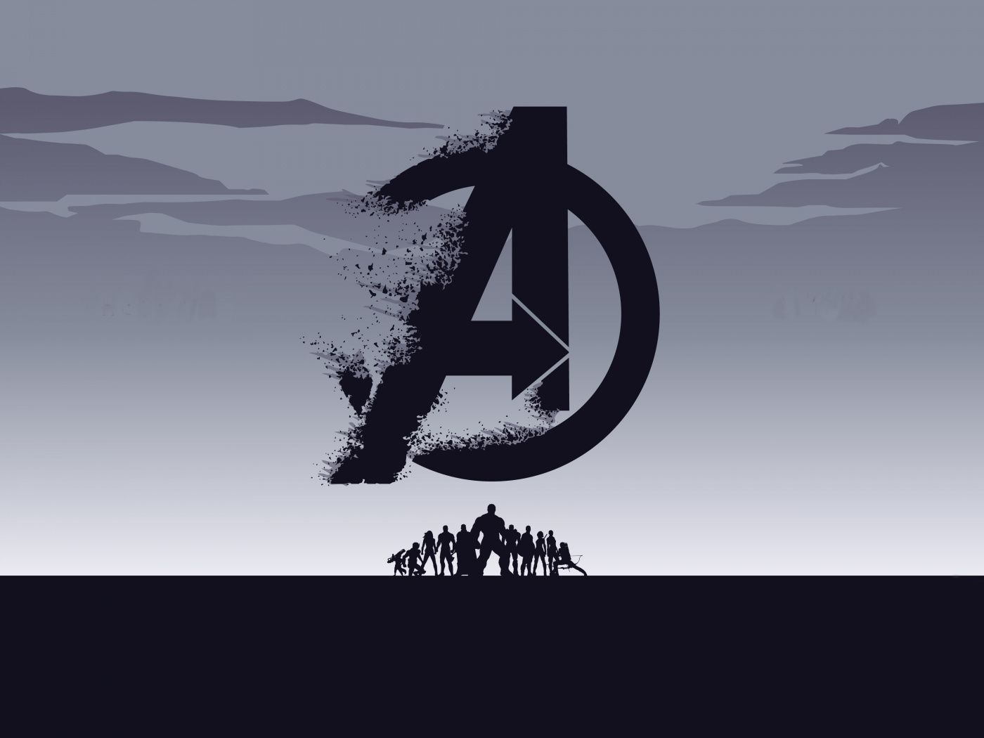 Download 1400x1050 Wallpaper 2019 Movie Avengers Endgame Minimal Silhouette Art Standard 4 3 F Papel De Parede Pc Papeis De Parede Pc Wallpapers Para Pc