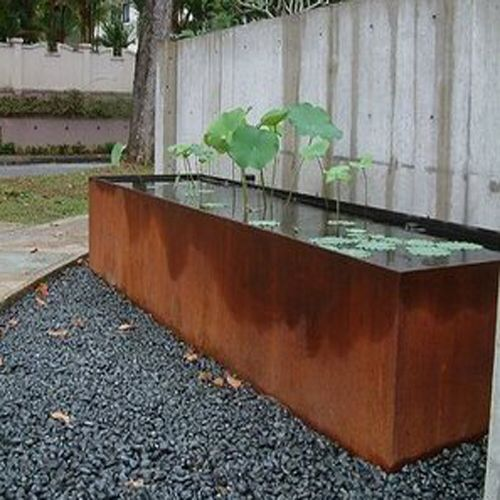 Rusted Metal Basin For Fountain Water Features In The Garden