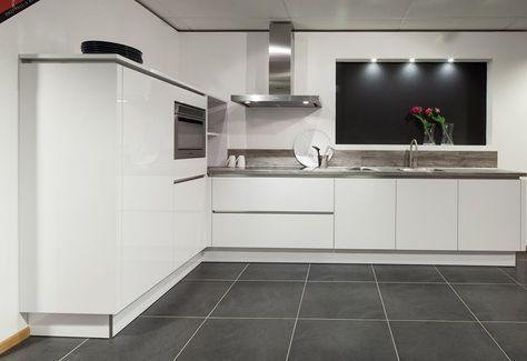 hoekkeuken in polarwit hoogglans | küche | pinterest, Deco ideeën