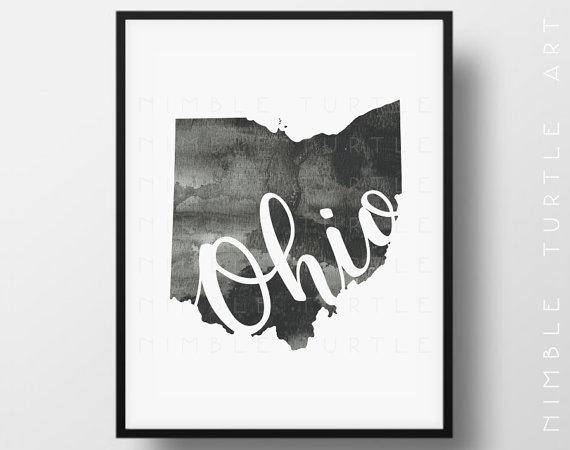 Ohio Wall Art ohio state outline watercolor - printable ohio wall art - comes
