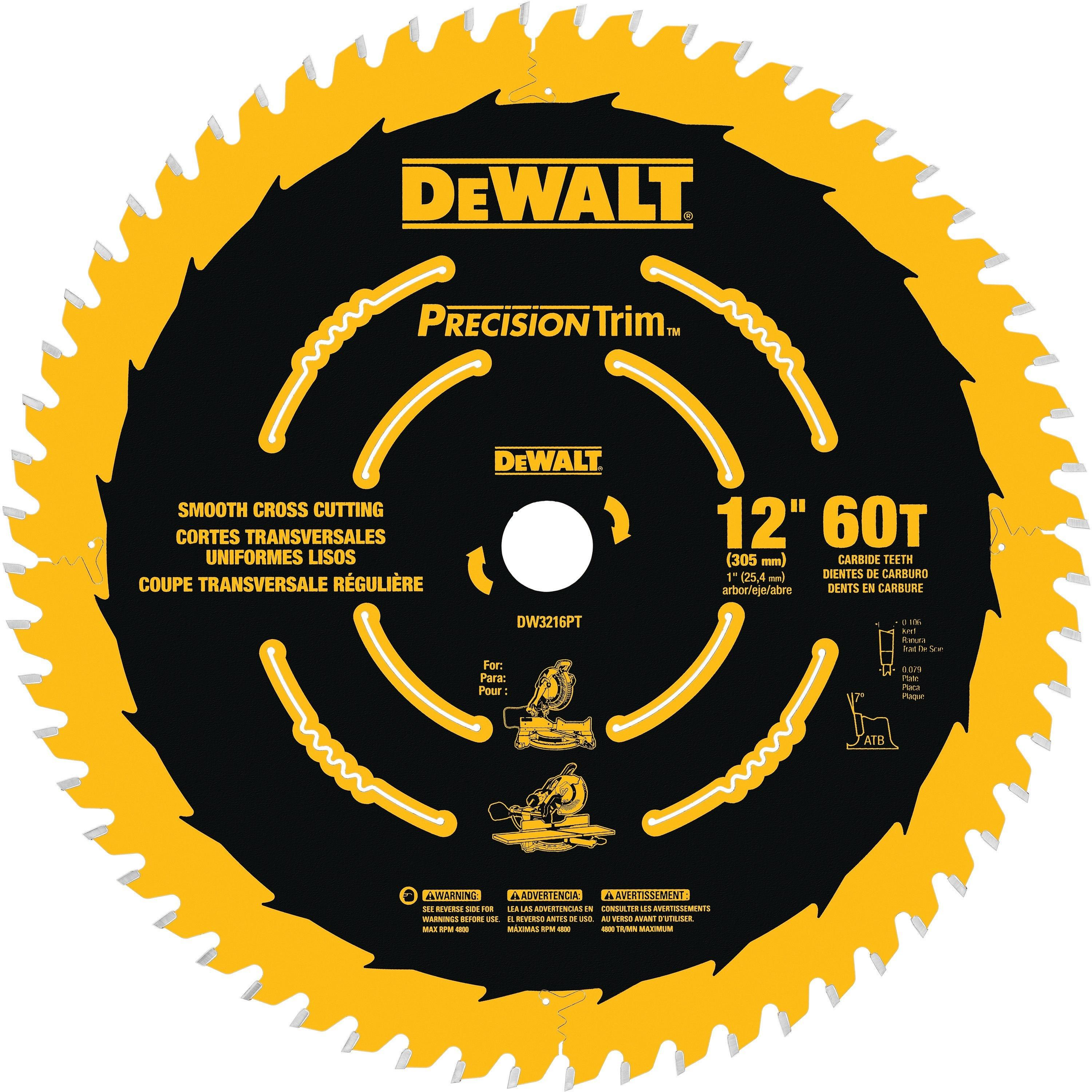 Dewalt 12in 60 Tooth Precision Trim Blade Circular Saw Blades Table Saw Blades Dewalt Circular Saw