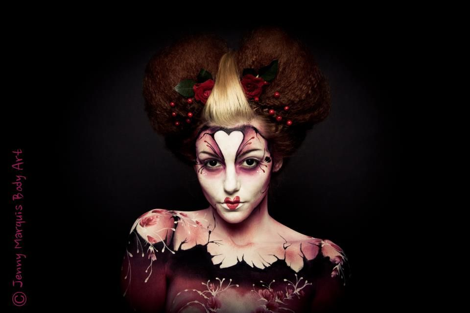Queen Of Hearts Body Painting Jenny Marquis Body Painting Queen Of Hearts Makeup Body Art Painting