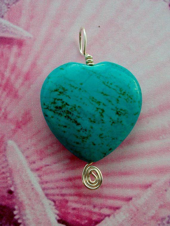 Turquoise Heart Wire Wrapped by BeautifullyUniquely on Etsy, $20
