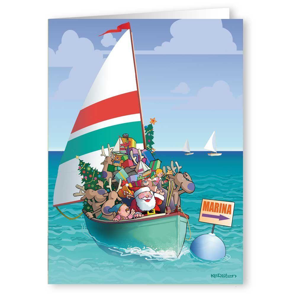 christmascards Sailing Santa and Reindeer Boating Christmas Card 18 ...