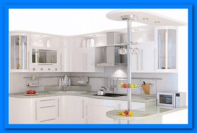 Muebles De Cocina En Esquina. Cocina Con Muebles Blancos Y Encimera ...