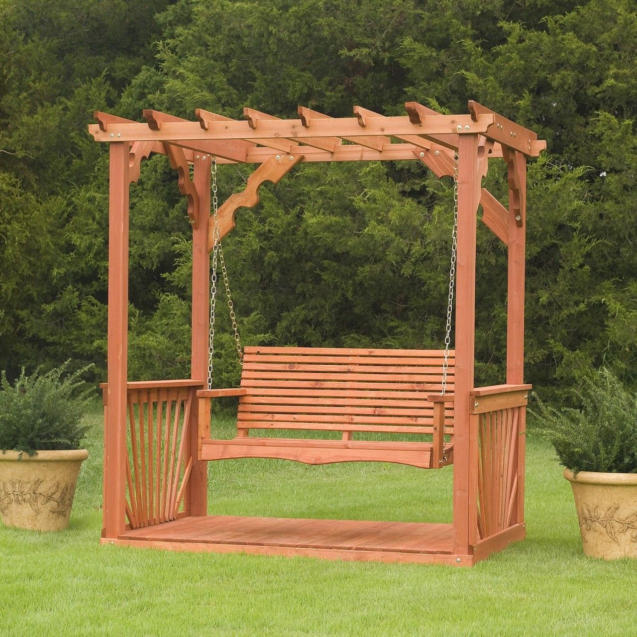 Porch swing frame plan wooden cedar wood pergola for How to build a swing set for adults