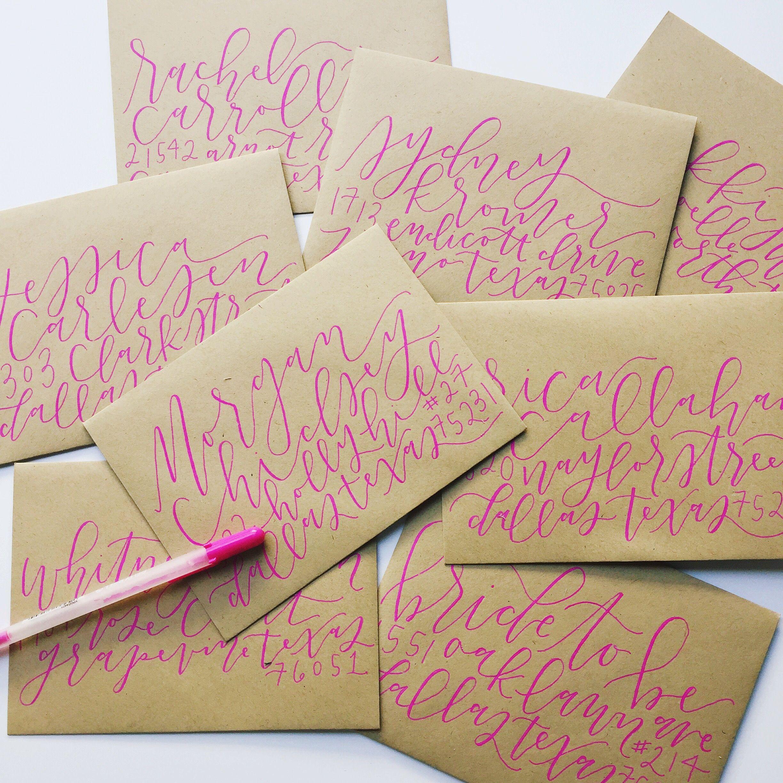 Pink calligraphy envelopes (allikdesign) Calligraphy