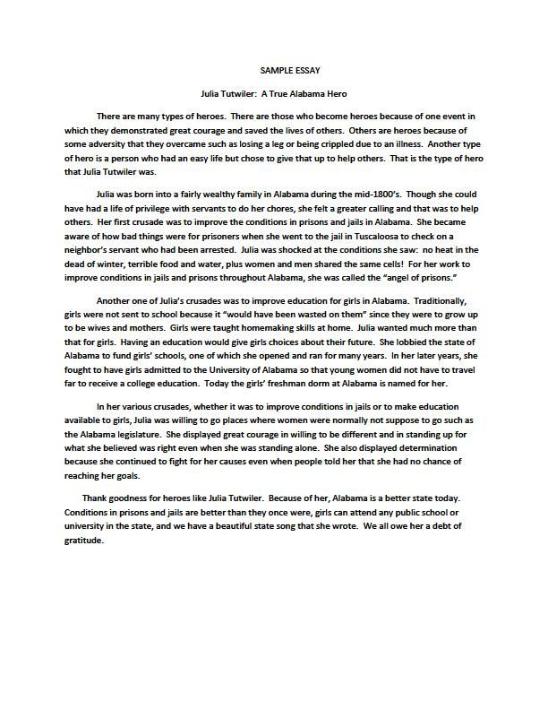 Hero-Essay-Samplejpg (612×792) Informational Writing - leadership essay example