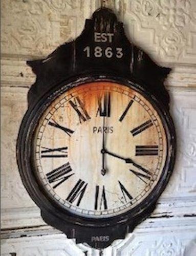 Paris Wall Clock Is A Large Black Wooden Frame Wall Clock With A Paris Motif Www Pinkpigwestport Com Wall Clock Clock Decor Clock