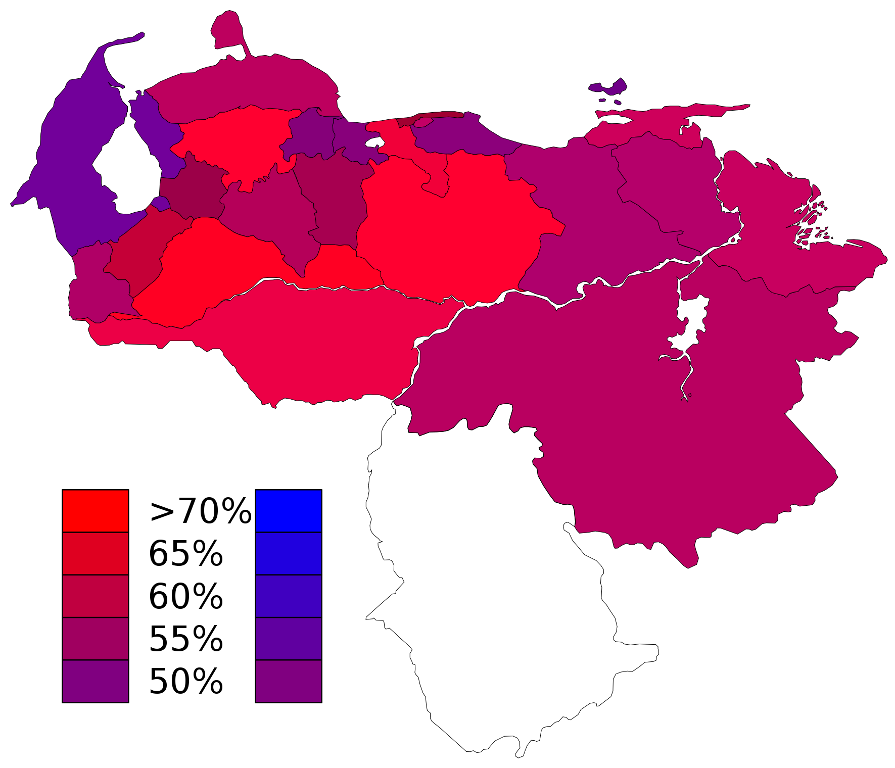 State Results Of The Regional Elections Of Venezuela 2004 In Red Pro Hugo Chavez S Candidates In Blue Against Chavez S Candidat Hugo Chavez Map Venezuela