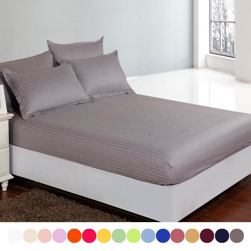 Marvelous Cotton Satin Hotel Bed Sheet,19 Solid Fitted Sheet Deep 30,Double Single  Bed Sheets Queen King Size,customizable #QY5001