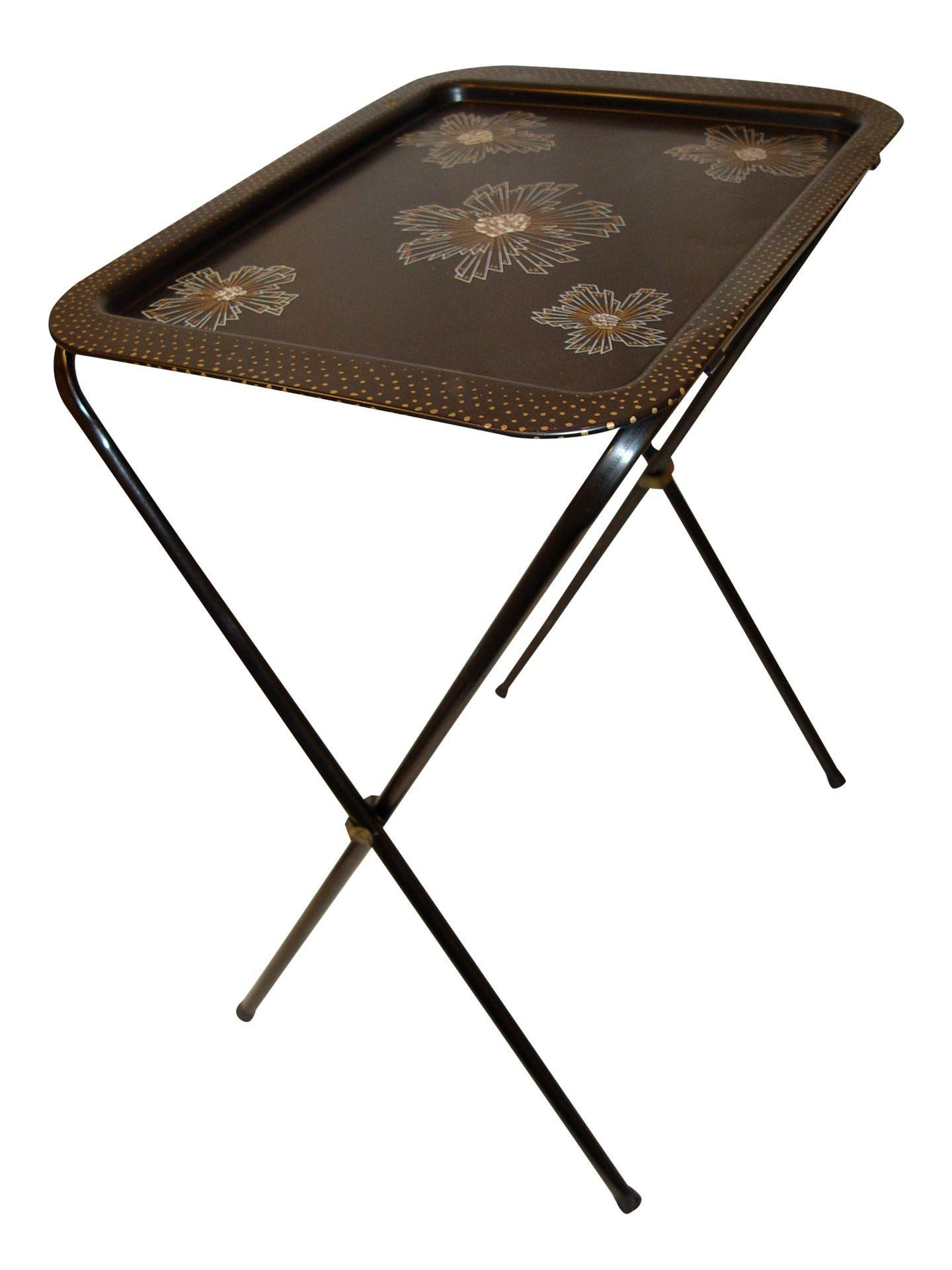 metal folding tv tray table black white & gold