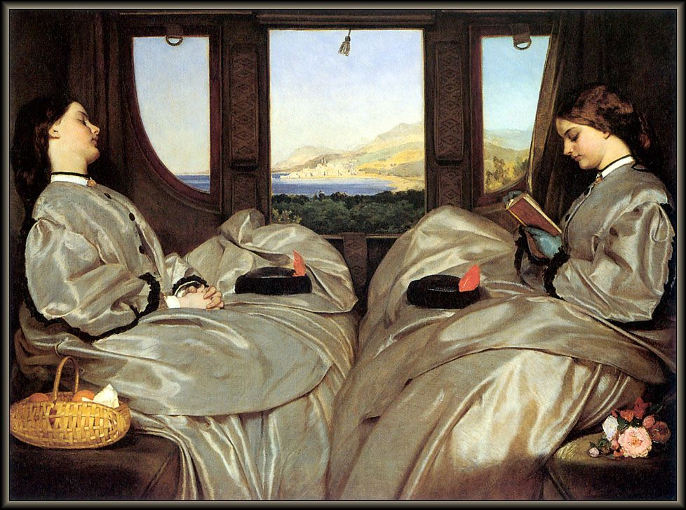 'The Travelling Companions' (1862) by Augustus Leopold Egg.   Reminds me of the sisters from Larkrise to Candleford...