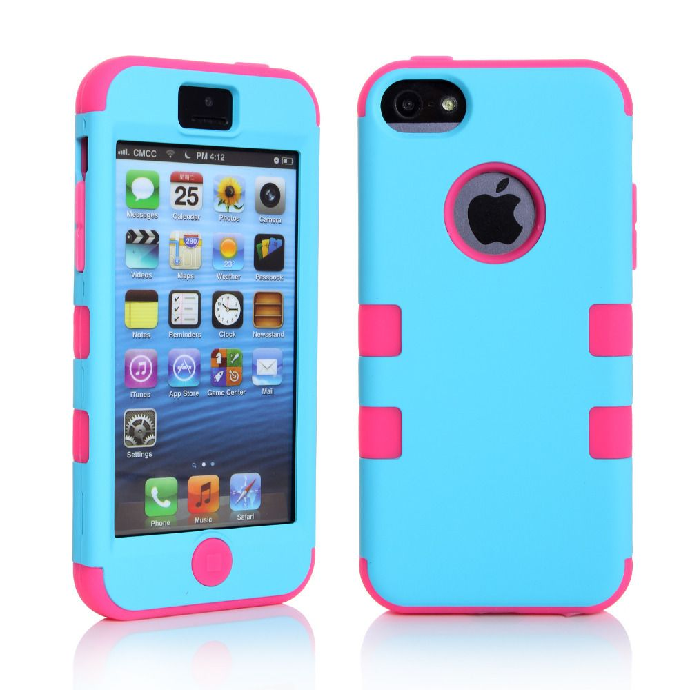 case for iphone 5c colorful silicone varnish 3 in 1 cover for 3088