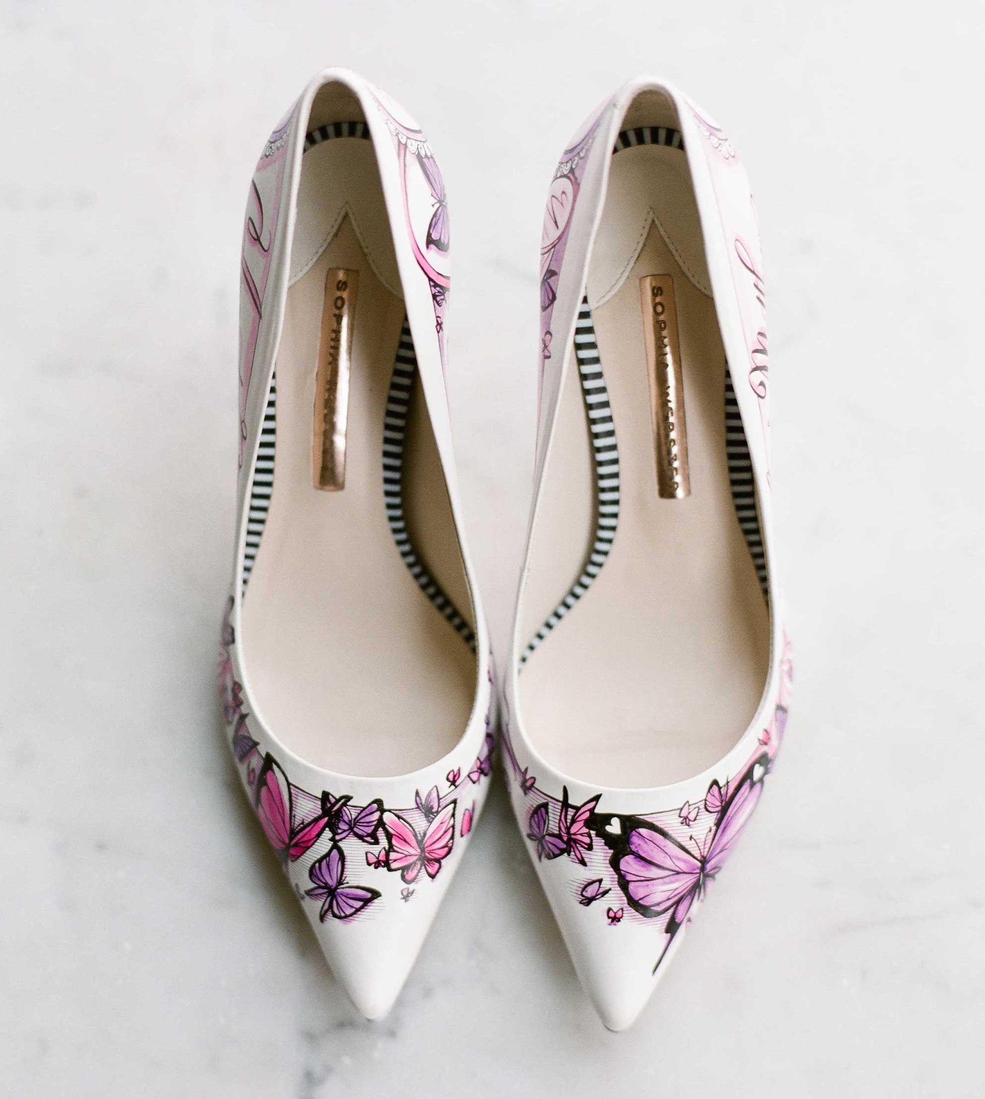 Hand Drawn Pink Erfly Design On White Wedding Shoe Pumps