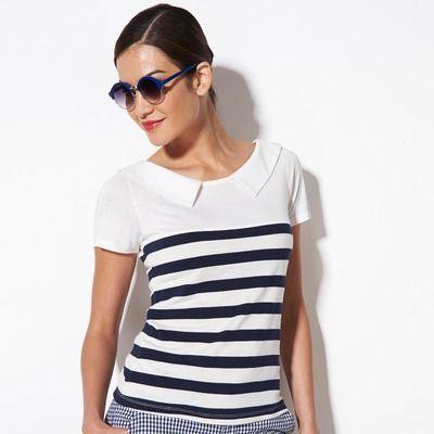 47909c25551b5 T-shirt marinière femme Rayé bleu marine 12.99 euros 3 Suisses ...