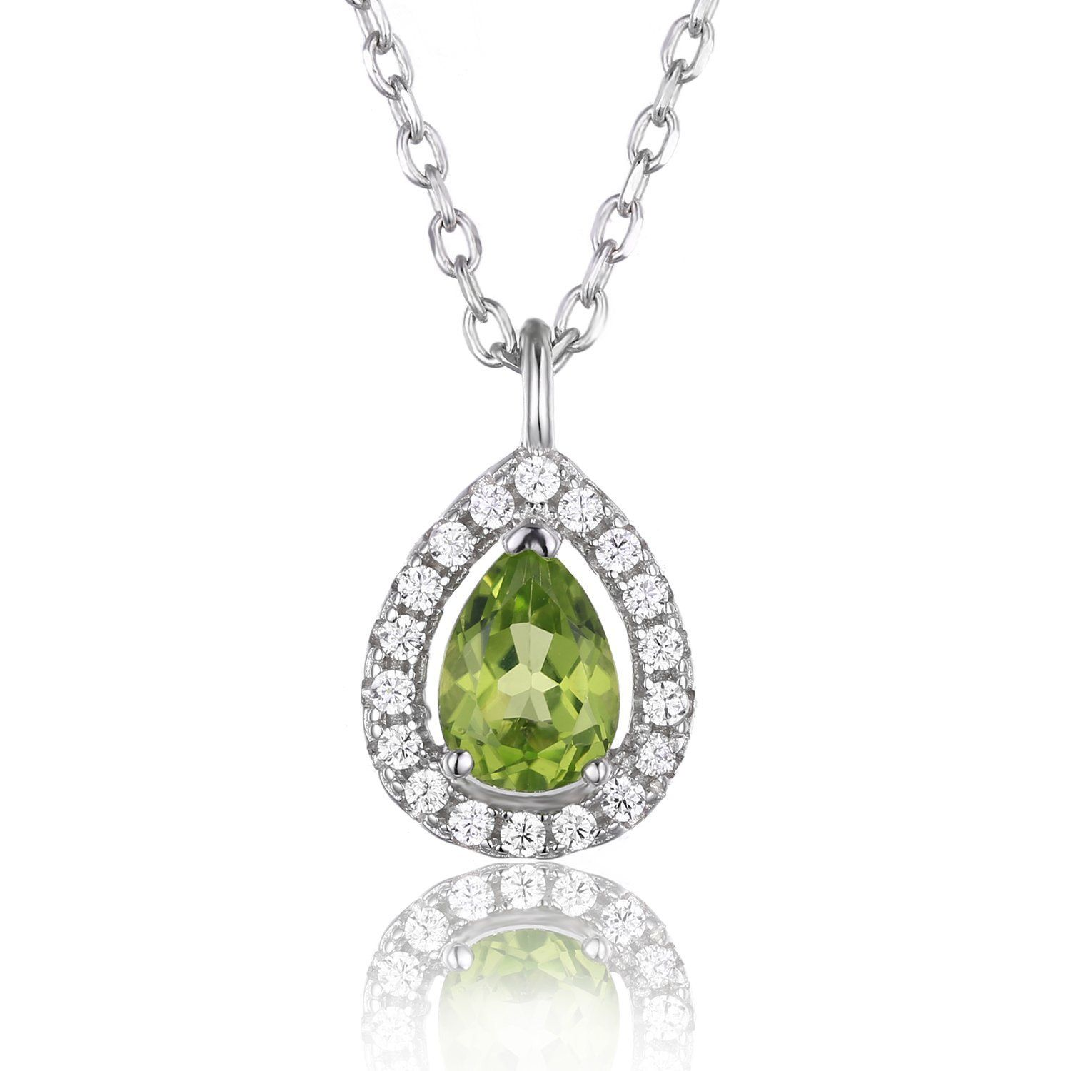 JewelryPalace Pear 0.8ct Natural Peridot 925 Sterling Silver Solitaire Pendant Necklace 18 Inches bRxXeuk33