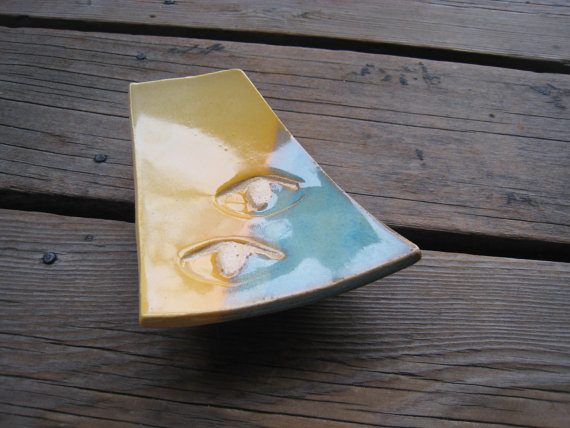 Turquoise and Buttercream Jewelry Tray  DISCOUNTED  by WhiteCitrus